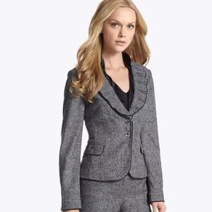 WHBM Gray Tweed Jacket Wool Blend Size 12 Blazer
